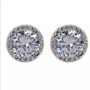 925 Sterling Silver Stud CZ Diamond Earrings